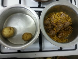 boiling potato and meat separately - Shami kabab