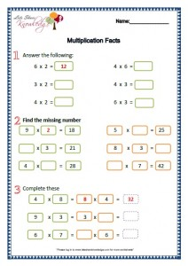 Grade 2 Maths Worksheets Multiplication Facts