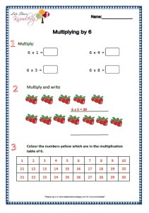 Grade 2 Maths Worksheets Multiplying by 6