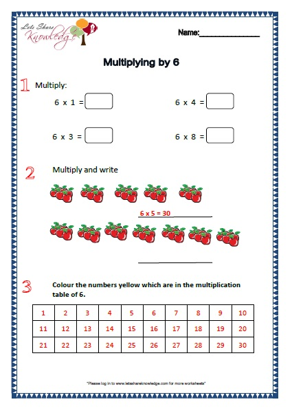 Free multiplication worksheets for grade 1