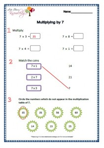 Grade 2 Maths Worksheets Multiplying by 7