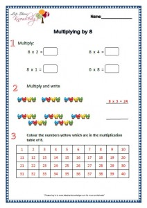 Grade 2 Maths Worksheets Multiplying by 8
