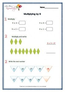 Grade 2 Maths Worksheets Multiplying by 9