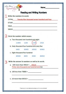 Grade 2 Maths Worksheets Reading and Writing Numbers