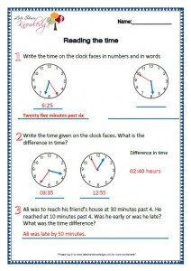 Grade 2 Maths Worksheets Reading the Time