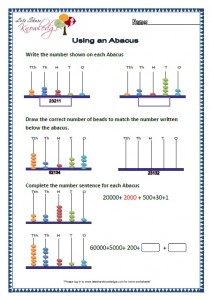Grade 2 Maths Worksheets Using Abacus for 5 Digit Numbers