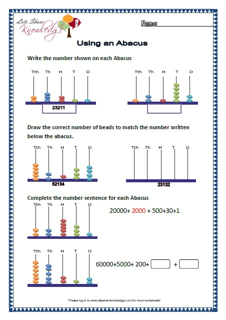 Worksheets Abacus Worksheets grade 2 maths worksheets part 1 more topics lets share using an abacus for 5 digit numbers worksheets
