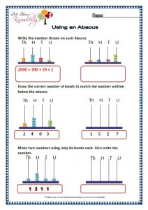 Grade 2 Maths Worksheets Using an Abacus