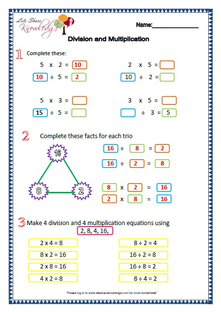 Grade 2 Maths Worksheets Part 4 - Lets Share Knowledge