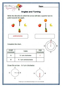 Grade 2 maths worksheets angles and turning