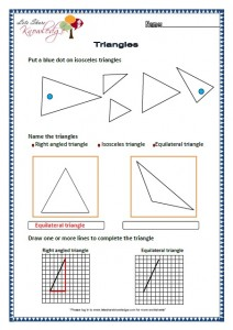 Grade two worksheets Triangles