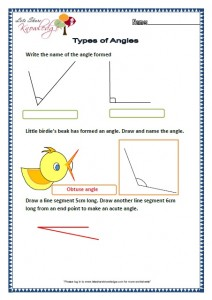 Grade two worksheets Types of angles