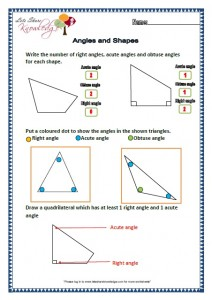 Grade two worksheets angles and shapes