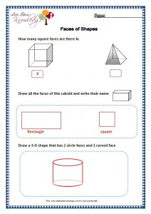 Grade two worksheets faces of shapes