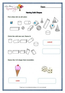 Grade two worksheets naming solid shapes