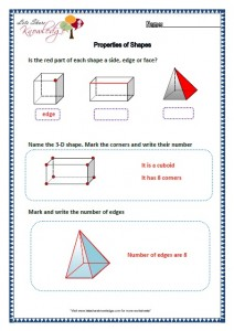 Grade two worksheets properties of shapes