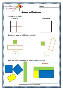 Grade two worksheets squares and rectangles