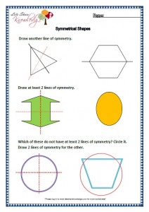 Grade two worksheets symmetrical shapes