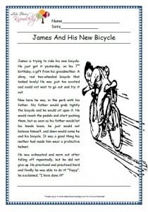 James and his new bicycle grade 1 comprehension