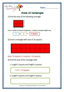 area of rectangle grade 2 maths worksheets