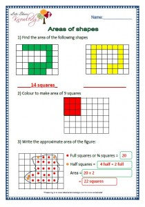 areas of shapes grade 2 maths worksheets