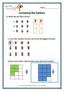 compare like fractions grade 2 maths worksheets