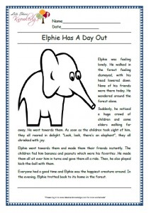 elphie has a day out grade 1 comprehension