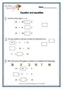 equation and equalities worksheets