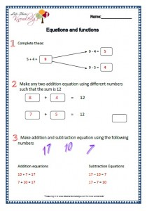 equations and functions worksheets