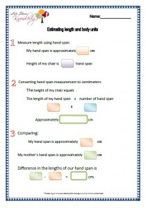 estimating length and body units worksheets