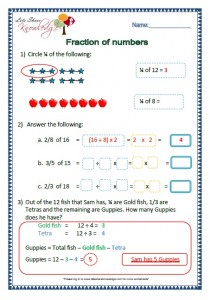 fraction of numbers grade 2 maths worksheets