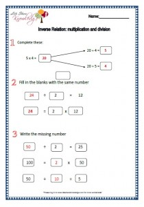 inverse relation multiplication and division worksheets
