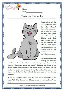 jane and munchy grade 1 comprehension