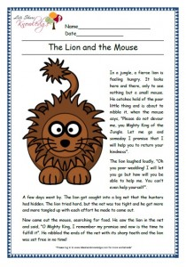 lion and the mouse grade 1 comprehension