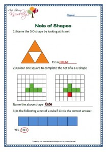 nets of shapes worksheets