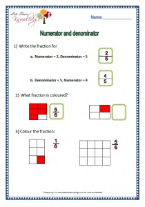 numerator and denominator grade 2 maths worksheets