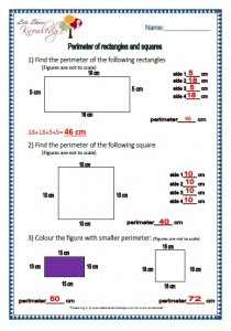 perimeter of rectangle and squares grade 2 maths