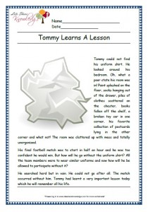 tommy learns a lesson grade 1 comprehension
