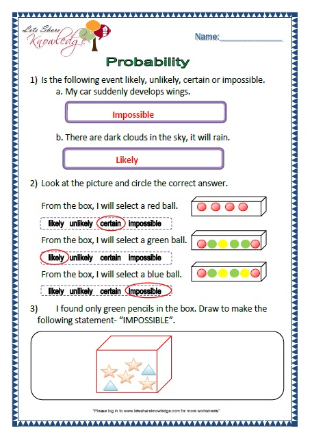 ... the probability asked. Click here for the 10 worksheets on Probability