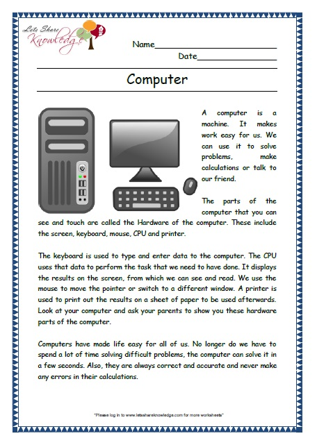 Computer mouse worksheets for grade 2