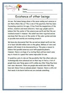 1 Existence of other beings grade 3 comprehension worksheet