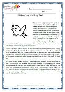 12 Richard and the Baby Bird grade 3 comprehension worksheet
