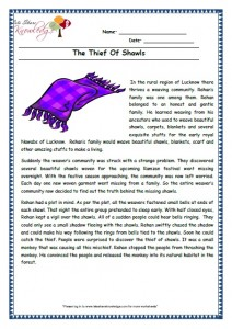 14 The Thief Of Shawls grade 3 comprehension worksheet