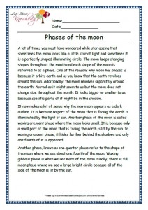 3 phases of the moon grade 3 comprehension worksheet