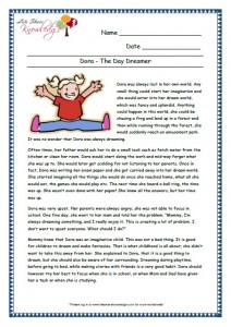 6 Dora-The day Dreamer grade 3 comprehension worksheet