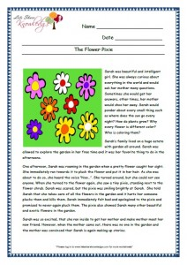 7 Flower Pixie Format grade 3 comprehension worksheet