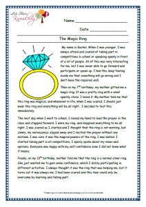 9 The magic ring grade 3 comprehension worksheet