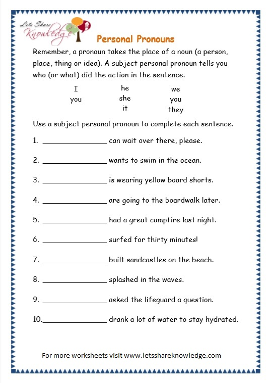 Grade 3 Grammar Topic 10 Personal Pronouns Worksheets Lets Share. Page 4 Personal Pronouns Worksheet. Worksheet. Pronoun Worksheets At Mspartners.co