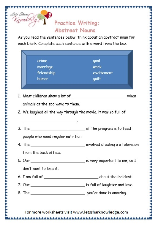 Grade 3 Grammar Topic 1 Abstract Nouns Worksheets Lets
