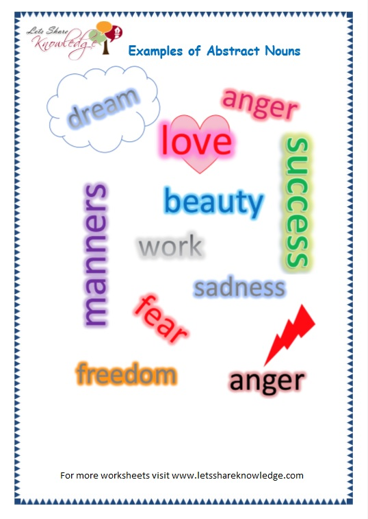 Abstract Nouns Worksheets 3rd Grade - when grammar meets art a noun as ...